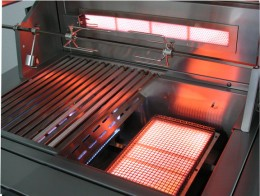 "infravection grills are infrared grills that give the owner the option to install a ""blue flame"" convection burner on one side of the cooking surface."