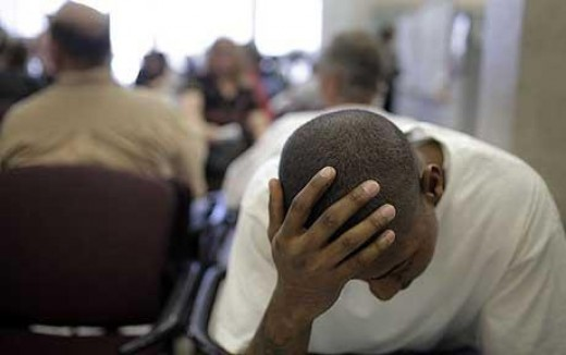 The unemployed man sinks lower and lower in his self-esteem, family worth....