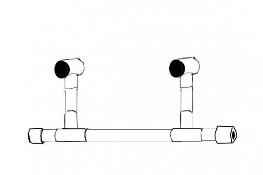 Glue T joints to the top of the upright pipes facing perpendicular to the axle (fore and aft).