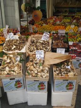 Italian markets sell a wide range of produce. mushrooms.