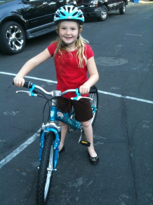 A new bike for a seven year old girl.
