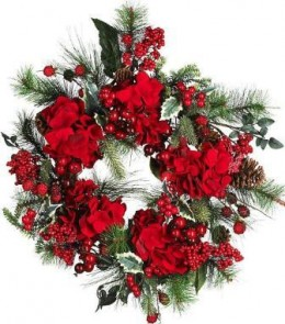 Red Poinsettias on a Christmas Wreath