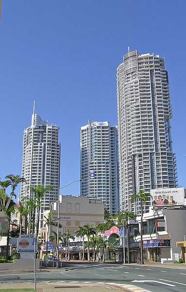The three Chevron Towers in Surfers Paradise.