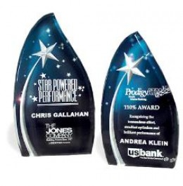 Reward your stellar employee with this stellar award. These Star Field Employee Awards are screened on Lucite and feature a carved star on a beautiful night colored background.