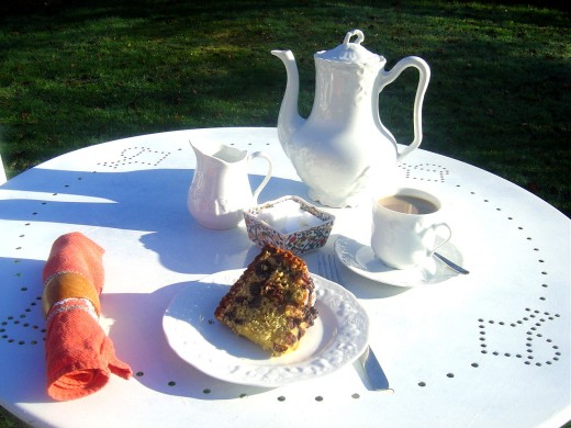 Spicy apple cake and coffee on a lovely sunny Limousin morning in November. This Limousin porcelain is, along with Golden Delicious apples, a product specific to the Limousin region