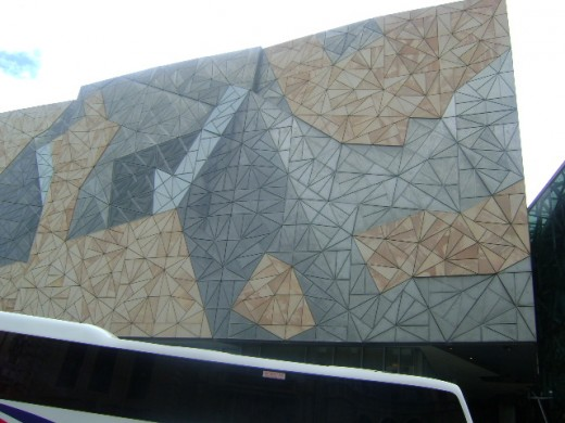 The wall of Federation square.