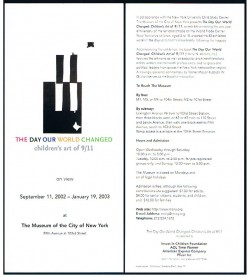 Front and back of two cards describing a commemorative exhibit at the Museum of the City of New York.