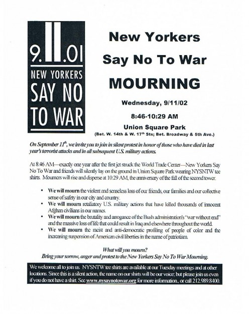 A flier describing a special remembrance at Union Square Park, from New Yorkers Say No To War .