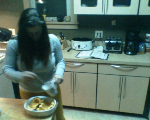 My lovey wife preparing last ten minutes of squash...