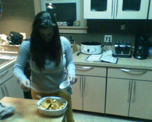Allison putting the final touches on the acorn squash