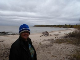 Laurie at Victoria Beach.  This is where we held the crystal portal ceremony.