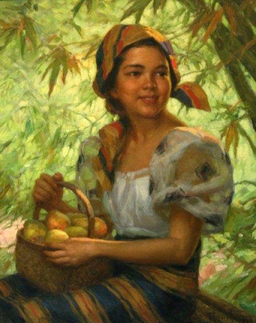 A Basket of Mangoes. 1949. Oil on canvas. 20 x 16 (frame 24 x 20).Amorsolo was famous for his portraits of beautiful Filipina girls.