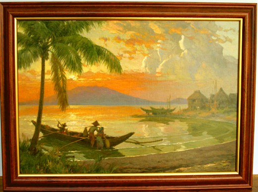 Sunset: Return of the Fishermen. 1939. Oil on canvas. 18 x 26 (frame 22 1/8 x 26 1/8)Sunset: Return of the Fishermen was done in 1939, at the height of Amorsolos career. The scene is Manila Bay, famous for its beautiful sunsets. Mount Samat on Bataan
