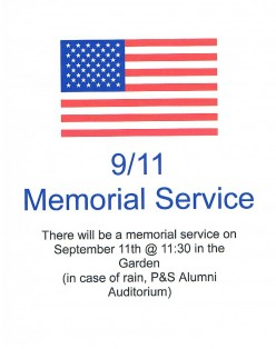 Flier announcing an outdoor Memorial Service at Columbia University Medical Center.