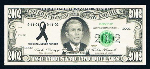 An item I spotted then bought in a gift shop on Austin St. in Forest Hills, Queens. A Bush 2002 dollar bill.