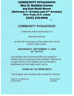 Flier announcing a memorial Service at the Community Synagogue, not far from the Ottendorfer library.