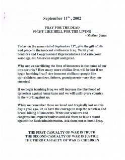 First of a five page handout I found at St. Mark's church, created in opposition of the pending U.S. invasion of Iraq. It includes congressional leader contact information and a sample letter you can send to them.