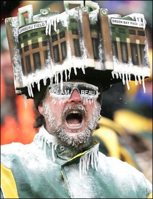 Lambeau Field: great stadium, bad choice of headwear