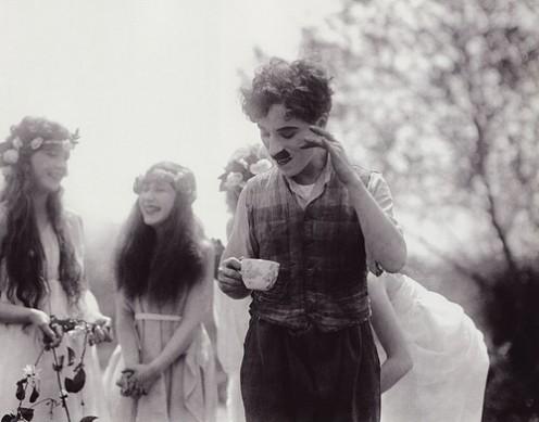 charlie chaplin drinking tea