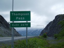 Near the top. From this point, the Richardson Highway descends to sea level and the port city of Valdez, AK, the most northerly ice free port in the United States.