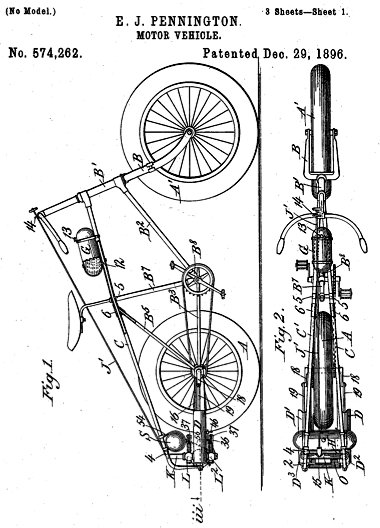 Pennington's patent. Try running this bike at 60 mph! Yikes!