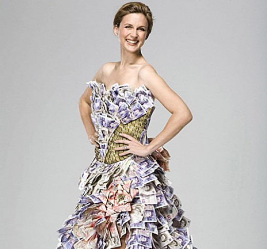 Katie Derham poses in a 50,000 dress made of money From Metro.co.uk