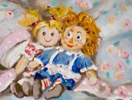 A beautiful painting of rag doll toys