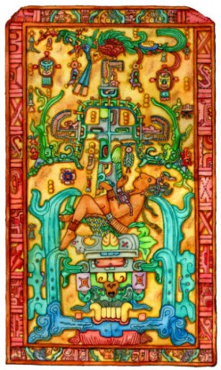 Bas Relief of the image carved into the Sarcophagus of Lord Pakal's Tomb- Colored