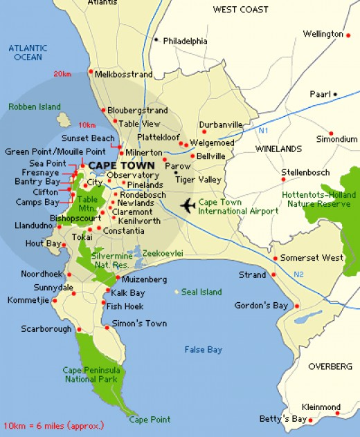 Map of Cape Town and Surroundings - click to enlarge this or any photos in this article
