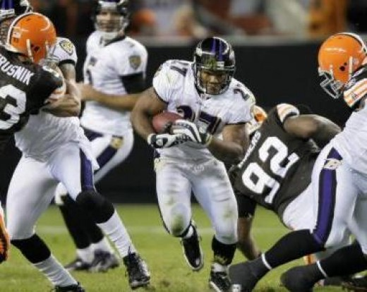 Baltimore Ravens running back Ray Rice (27) runs for 8 years against the Cleveland Browns in the second quarter of an NFL football game Monday, Nov. 16, 2009, in Cleveland. (AP Photo/Mark Duncan)