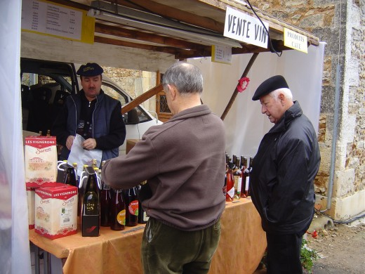 Local French men enjoying a 'degustation' at the St Sornin wine festival