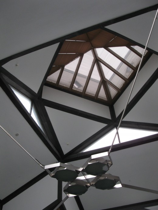 glass pyramid-shaped ceiling inside the entrance hall of the New Suzhou Museum