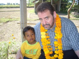 The author with a young friend at a remote village in Nepal.