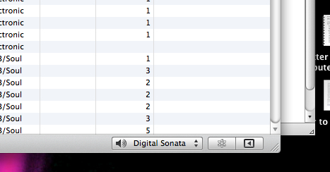 "screenshot of the lower right corner of iTunes.  My stereo is called ""digital sonata"" in iTunes"