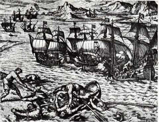 French and Spanish pirates fight for spoils in the Caribbean, as shown in a print by the 16th century engraver Theodore de Bry