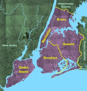 New York City highlighting the location of the five boroughs. Source:  Matthew Trump courtesy of Wikimedia Commons Creative Commons Attribution ShareAlike 3.0 License.