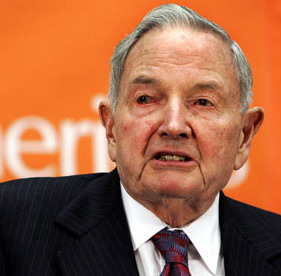 David Rockefeller  CoR executive member, former Chairman of Chase Manhattan Bank, founder of the Trilateral Commission, executive member of the World Economic Forum, donated land on which the United Nations stands.