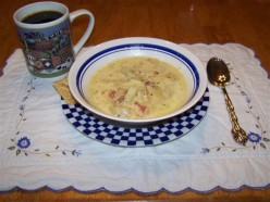 Fried Potato, Chicken And Clam Chowder Soup. An Easy Crock Pot Soup.
