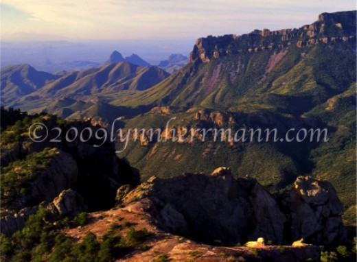 The Lost Mine Trail provides several superb views of the countryside far below, with Elephant Tusk rising in the background.