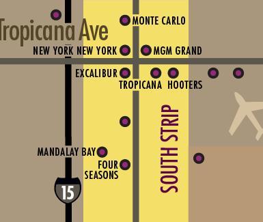 Las Vegas Strip Hotels Map - South Strip