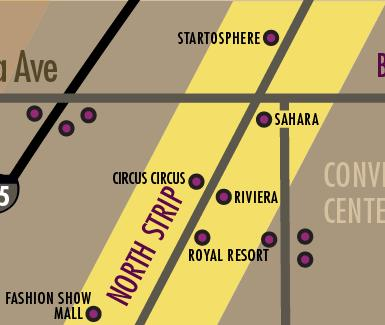 Las Vegas Strip Hotels Map - North Strip