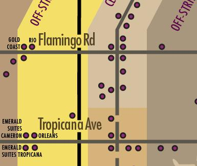 Las Vegas Hotels Map - Just West of the Strip on the other side of I-15