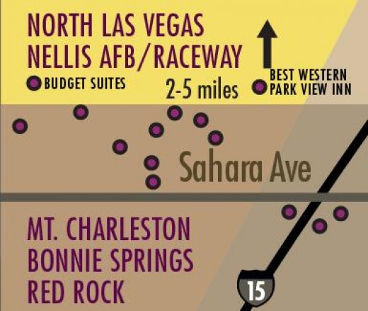 Hotels located to the North of Downtown Las Vegas.  These Hotels are a long distance from the Strip