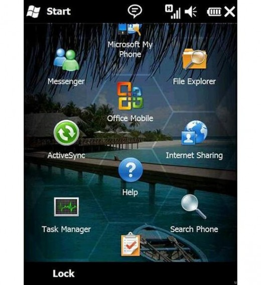 """Some of the applications or """"Apps"""" featured on a Smartphone with Windows 6.5 Professional"""