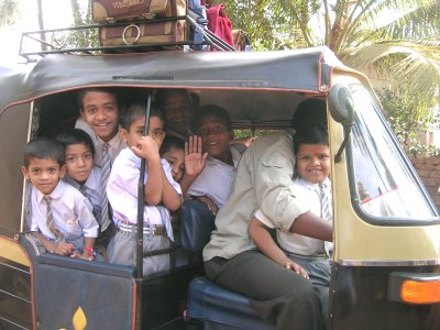 School Kids sitting in Auto