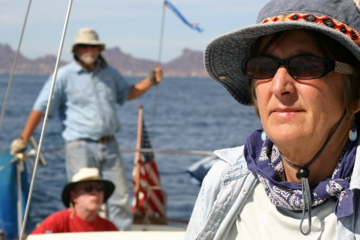 Dagmar, Dana and Mike sailing on the Sea of Cortez November 2005 deedsphotos