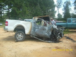 The truck which had been brand new was burned almost completely.