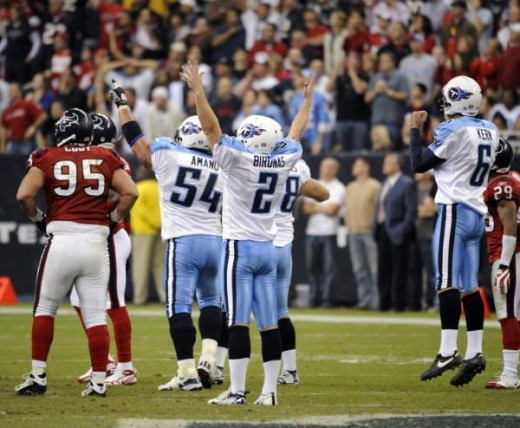 Rob Bironas (2) celebrates his game-winning 53-yard field goal during the fourth quarter of an NFL football game against the Houston Texans Monday, Nov. 23, 2009 in Houston. The Titans beat the Texans 20-17 AP Photo/Dave Einsel