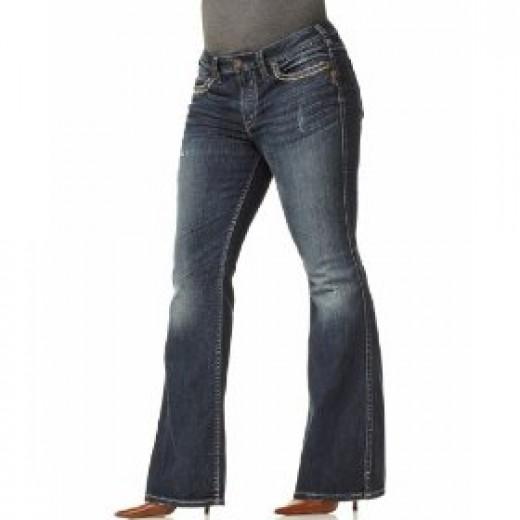 Frances Destructed Dark Wash Flare Jeans