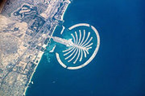 Nakheel's man-made island Palm Jumeirah seen from the International Space Station.